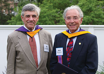 Robert Baron '59 and Martin Peskin '59 stand proudly after receiving their honorary Bachelor's degrees during Reunion 2009. Along with four others, they left Hobart without a degree to attend graduate programs in medicine and law.