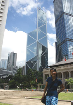 Ruiwan Xu '11 at the DFS<br /> headquarters in Hong Kong