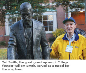 Ted Smith, the great, great grandnephew of College founder William Smith, served as a model for the sculpture.